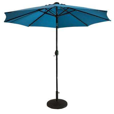 9 Ft. Steel Market Solar Lighted 8-Rib Round Patio Umbrella In Aqua within Most Up-to-Date Sun-Ray Solar Cantilever Umbrellas