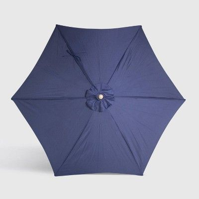 9' Round Patio Umbrella Navy – Light Wood Pole – Threshold Intended For Preferred Herlinda Solar Lighted Market Umbrellas (View 11 of 25)