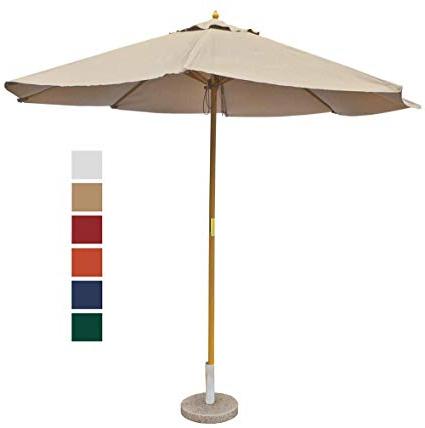 9' Taupe Patio Umbrella – Outdoor Wooden Market Umbrella Product Sku:  Ub58024 For Preferred Market Umbrellas (Gallery 4 of 25)