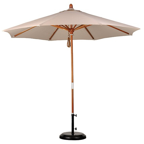 9' Wood Market Umbrella – Pacifica Fabric Intended For Latest Market Umbrellas (Gallery 1 of 25)