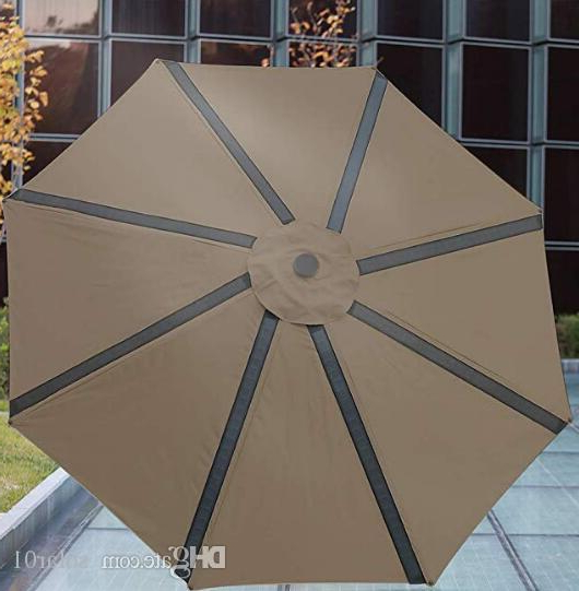 9Ft Solar Powered Led Light Patio Umbrella With 4 Usb Ports,garden Outdoor Table Sun Shade Market Umbrella With Tilt And Crank Pertaining To Current Solar Powered Led Patio Umbrellas (View 6 of 25)