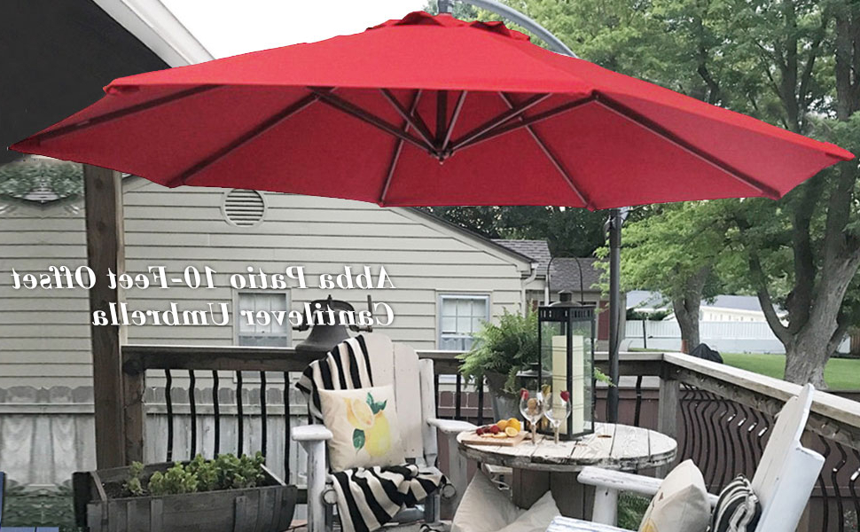 Abba Patio 10 Feet Offset Cantilever Outdoor Hanging Patio Umbrella, Red Intended For Most Current Freda Cantilever Umbrellas (View 13 of 25)