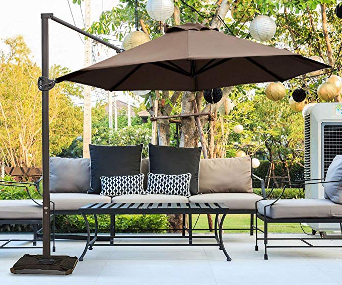 Abba Patio 11 Ft Offset Patio Umbrella With Crank Lift And Tilt And Cross  Base, 11', Cocoa Pertaining To Best And Newest Kedzie Outdoor Cantilever Umbrellas (View 3 of 25)