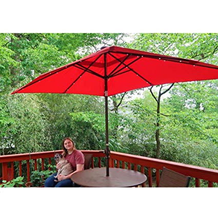 Abba Patio 97 Feet Rectangular Patio Umbrella With Solar Powered 32 Led  Lights With Tilt And Crank, Dark Red Within Most Current Griselda Solar Lighted  Rectangular Market Umbrellas (View 4 of 25)