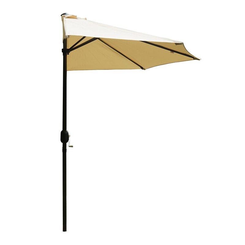 Alder 9' Half Round Outdoor Patio Market Umbrella For Most Up To Date Alder Half Round Outdoor Patio Market Umbrellas (View 2 of 25)