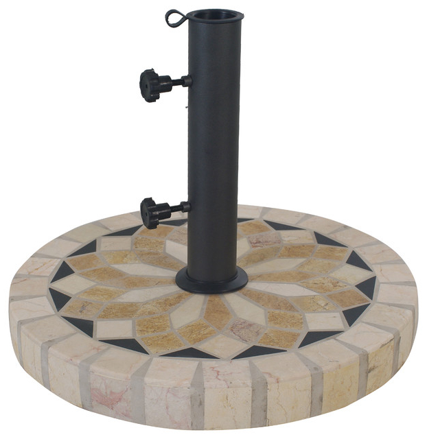 "Alder Half Round Outdoor Patio Market Umbrellas Inside Best And Newest Spanish Marble 20"" Umbrella Base (View 4 of 25)"