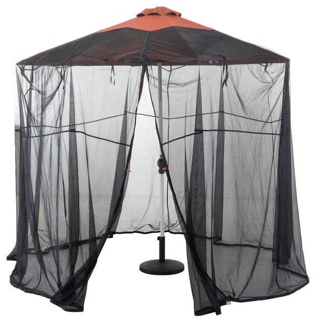 Alder Half Round Outdoor Patio Market Umbrellas Inside Well Known Classic Accessories Universal Round Patio Umbrella Insect Screen Canopy (View 16 of 25)