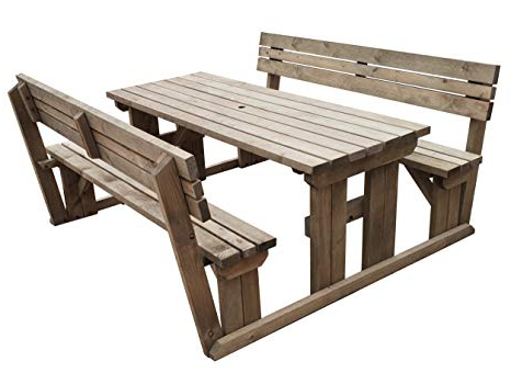 Alder Half Round Outdoor Patio Market Umbrellas Intended For Well Liked Alders Wooden Garden Picnic Table And Benches With Backrest – Heavy (View 20 of 25)