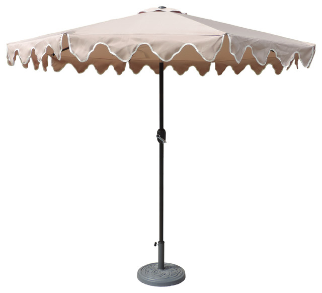 Alder Half Round Outdoor Patio Market Umbrellas Pertaining To Best And Newest Designer Patio Market Scalloped Umbrella, Tan, 9' (View 8 of 25)