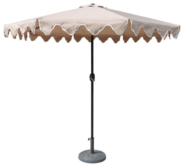 Alder Half Round Outdoor Patio Market Umbrellas Pertaining To Best And Newest Designer Patio Market Scalloped Umbrella, Tan, 9' (View 3 of 25)