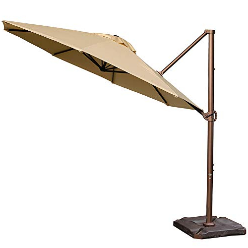 Alexander Elastic Rectangular Market Sunbrella Umbrellas Regarding Latest Abba Patio Sunbrella Offset Cantilever 11 Feet Outdoor Patio Hanging Umbrella With Cross Base, Beige (View 20 of 25)
