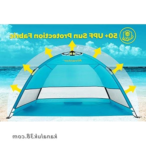 Alvantor Beach Tent Coolhut Plus Beach Umbrella Sun Shelter Cabana  Automatic Pop Up Upf 50+ Sun Shade Portable Camping Fishing Hiking Canopy  Easy Set For Most Recent Sun Shelter Beach Umbrellas (View 23 of 25)