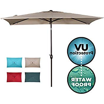 Amazon : Abba Patio 97 Feet Rectangular Patio Umbrella With In Most Recently Released Griselda Solar Lighted  Rectangular Market Umbrellas (View 5 of 25)