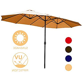 Amazon : Best Choice Products 15X9Ft Large Rectangular Outdoor Throughout Fashionable Zadie Twin Rectangular Market Umbrellas (View 1 of 25)