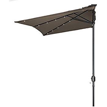 Amazon : Castlecreek 8' Half Round Patio Umbrella, Khaki With Regard To Most Current Colburn Half Market Umbrellas (View 2 of 25)