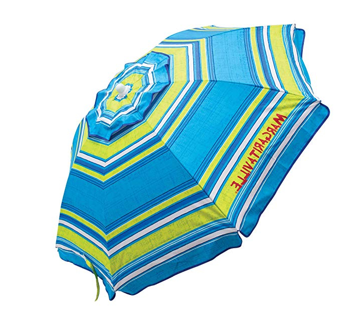 Amazon : Margaritaville 6 Foot Upf 50+ Beach Umbrella With Built With Most Current Margaritaville Green And Blue Striped Beach With Built In Sand Anchor Umbrellas (View 5 of 25)