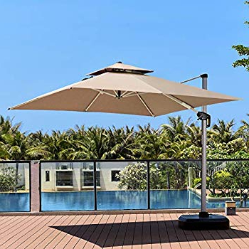 Amazon : Santorini Ii 10 Ft Square Cantilever Umbrella In Beige In Well Known Spitler Square Cantilever Umbrellas (View 16 of 25)