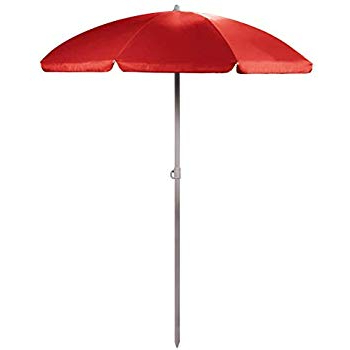 Amazon : Sunnydaze 5 Foot Outdoor Beach Umbrella With Tilt For Preferred Kerner Steel Beach Umbrellas (View 3 of 25)
