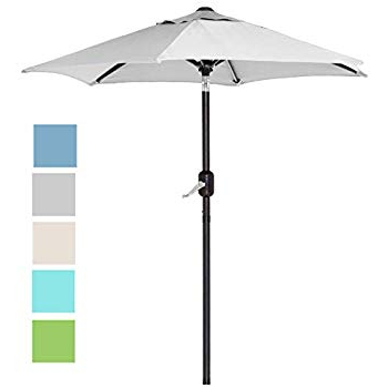 Amazon : Sunnydaze 5 Foot Outdoor Beach Umbrella With Tilt Inside Favorite Kerner Steel Beach Umbrellas (View 4 of 25)
