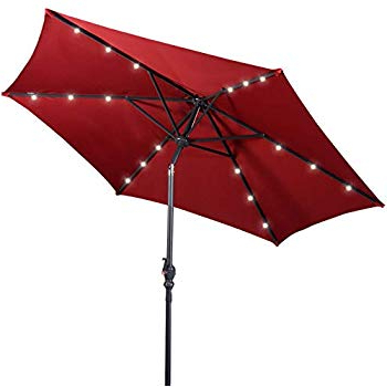 Amazon : Tourke 9Ft Led Lighted Patio Market Umbrella Outdoor Regarding Famous Coggeshall Led Lighted Market Umbrellas (View 2 of 25)