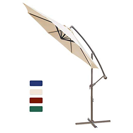 Anna Cantilever Umbrellas Intended For Trendy Hasle Outfitters Offset Patio Umbrella 10Ft Cantilever Umbrella Outdoor  Market Umbrella Hanging Umbrella With Cross Base Beige (View 16 of 25)