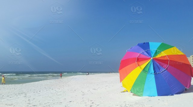Beach Umbrella Proud To Have A Place Beachside Stock Photo Within Favorite Seaside Beach Umbrellas (View 9 of 25)