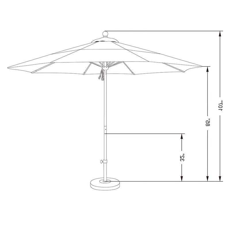 Benson 11' Market Umbrella Throughout Fashionable Caravelle Market Sunbrella Umbrellas (View 14 of 25)