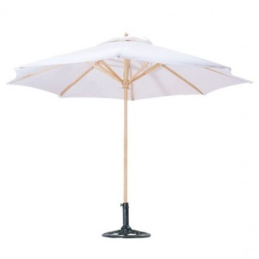 Best And Newest 10 Natural Canvas Market Umbrellas And 10 18'' Solid Steel Umbrella Base  Bundle With Regard To Solid Market Umbrellas (View 5 of 25)