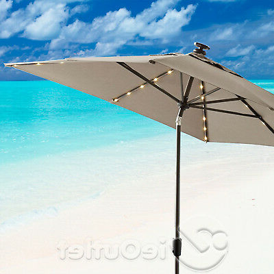 Best And Newest 8' X 10' Sunbrella Aluminum Auto Tilt Market Umbrella W/ Led Lights Throughout Wiebe Market Sunbrella Umbrellas (View 5 of 25)