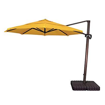 Best And Newest California Umbrella 11' Round Aluminum Cantilever Umbrella, Crank Lift,  Slide Tilt, 360 Rotation, Bronze Pole, Sunbrella Sunflower Yellow Within Carlisle Square Cantilever Sunbrella Umbrellas (View 11 of 25)