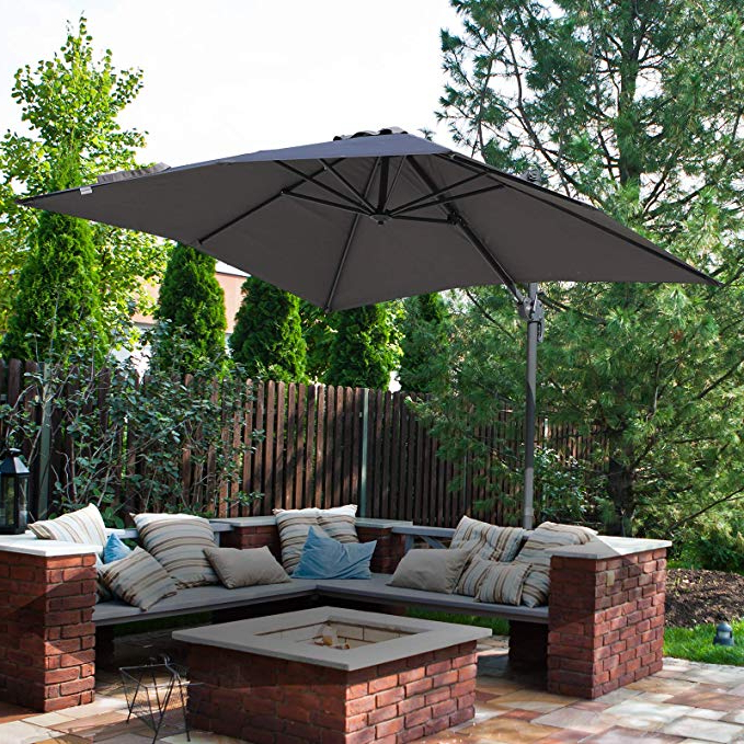 Best And Newest Dore Patio Cantilever Umbrellas For Outsunny 8'x8' Square Patio Hanging Offset Umbrella Outdoor Cantilever  Crank Market Parasol Garden Sun Canopy Shelter 360° Rotation W/cross Base  Grey (View 3 of 25)