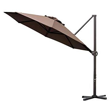 Best And Newest Kedzie Outdoor Cantilever Umbrellas Inside Abba Patio 11 Ft Offset Patio Umbrella With Crank Lift And Tilt And Cross  Base, 11', Cocoa (View 2 of 25)