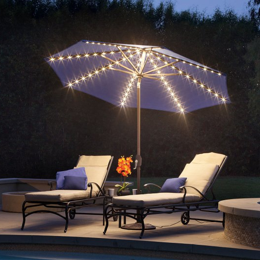 Best And Newest Lanai Market Umbrellas Pertaining To Lanai Pro 9' Octagon Solefin Market Umbrella With Star Lights (View 5 of 25)