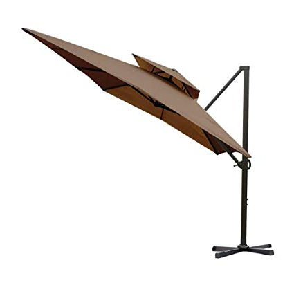 Best and Newest Mablethorpe Cantilever Umbrellas with regard to Abba Patio 912-Feet Rectangular Offset Cantilever Dual Wind Vent Patio  Hanging Umbrella With Cross Base, Cocoa