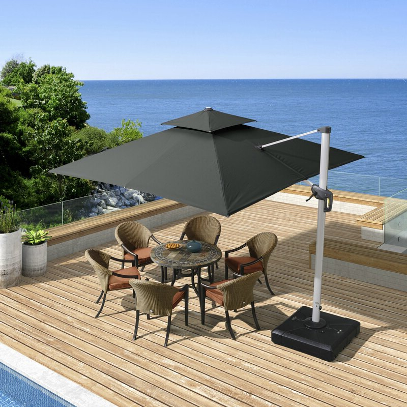 Best And Newest Mald 11' Square Cantilever Umbrella Pertaining To Spitler Square Cantilever Umbrellas (View 5 of 25)