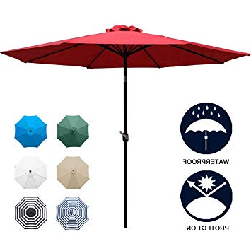 Best And Newest New Haven Market Umbrellas Intended For Sunnyglade 9' Patio Umbrella Outdoor Table Umbrella With 8 Sturdy Ribs (Red) (View 4 of 25)