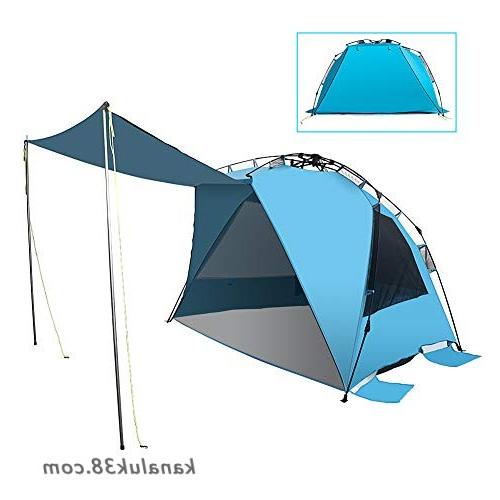Best And Newest Sun Shelter Beach Umbrellas Regarding Mounchain Beach Tent 2 Support Poles Outdoors Easy Setup Portable Sun  Shelter Quick Pop Up Cabana Canopy Super Bluecoast Beach Umbrella Uv50+ Sun (View 8 of 25)