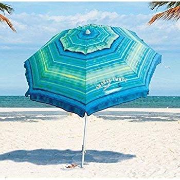 Best and Newest Tilt Beach Umbrellas for Tommy Bahama Sand Anchor 7 Feet Beach Umbrella With Tilt And Telescoping  Pole (Green/blue Stripe)