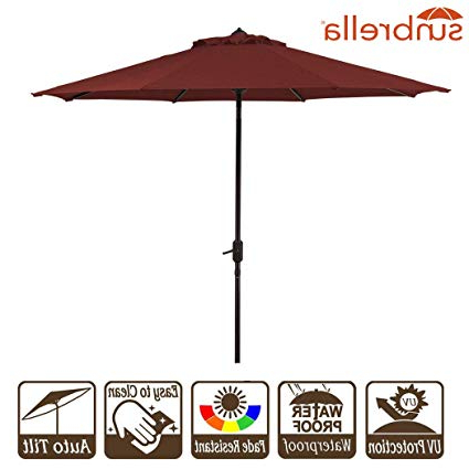 Best And Newest Wiebe Auto Tilt Square Market Sunbrella Umbrellas In Garden Umbrella With Crank And Auto Tilt 9 Feet Patio Market Table Umbrella Sunbrella Fabric Canvas Cornell Brick Red (9' Crank & Tilt, Brick Red (View 4 of 25)