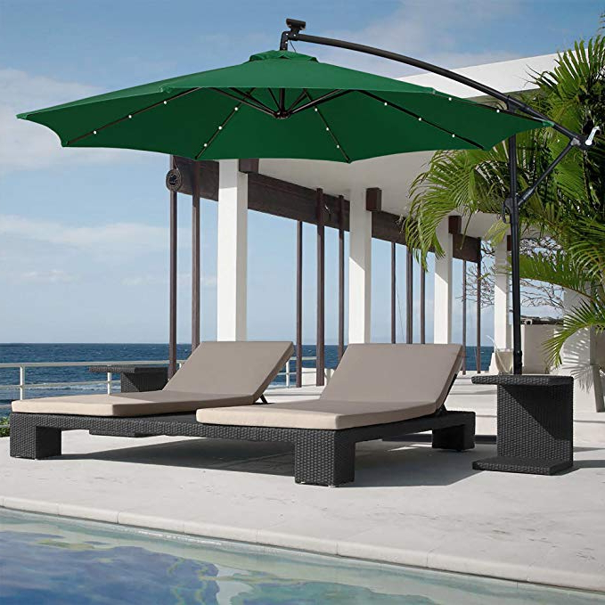 Best Choice Products 10Ft Solar Led Offset Hanging Market Patio Umbrella  W/easy Tilt Adjustment, Polyester Shade, 8 Ribs For Backyard, Poolside – Regarding Trendy Elaina Cantilever Umbrellas (View 22 of 25)