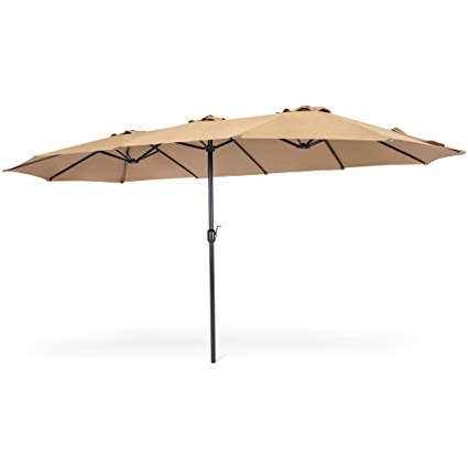 Best Choice Products 15X9Ft Large Rectangular Outdoor Aluminum Twin Patio  Market Umbrella W/crank, Wind Vents – Beige Regarding Latest Solid Rectangular Market Umbrellas (View 15 of 25)