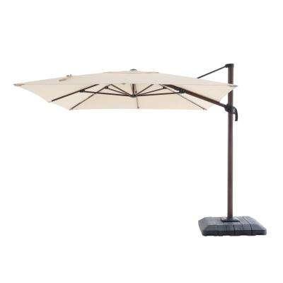 Bonita Rectangular Market Umbrellas inside 2017 10 Ft. X 12 Ft. Aluminum Rectangle Offset Cantilever Patio Umbrella In Cafe