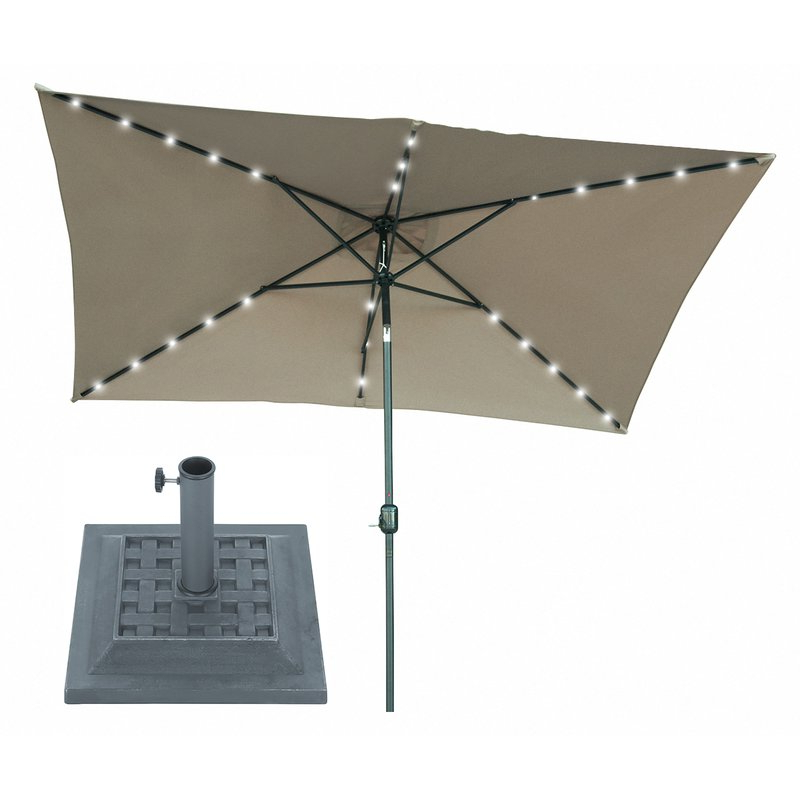 Bramblett 10' X 6.5' Rectangular Lighted Umbrella with Well known Branam Lighted Umbrellas