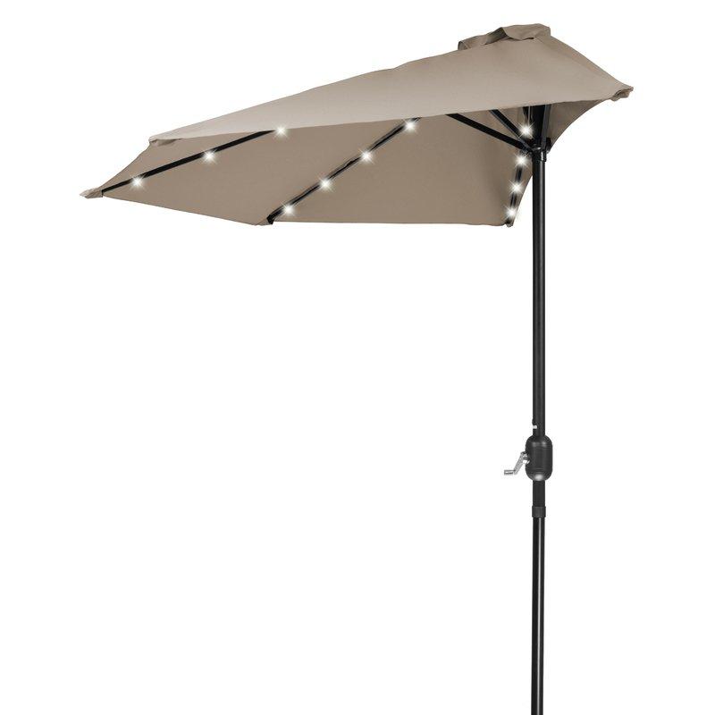 "Breaux 4'5"" Lighted Half Umbrella Pertaining To Famous Monty Half Market Umbrellas (View 4 of 25)"