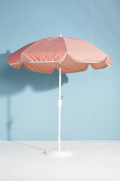 Cabana Red White Striped Outdoor Umbrella Within Most Up To Date Emely Cantilever Sunbrella Umbrellas (View 24 of 25)