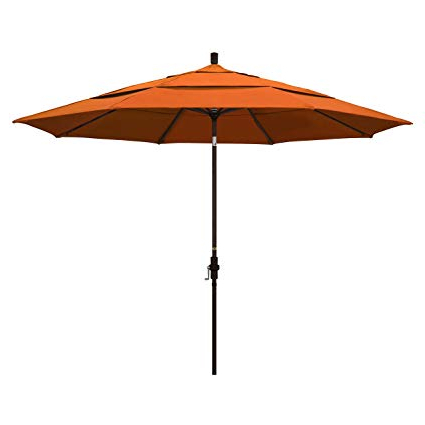 California Umbrella 11' Round Aluminum Market Umbrella, Crank Lift, Collar Tilt, Bronze Pole, Pacifica Tuscan Throughout Most Recently Released Market Umbrellas (View 5 of 25)