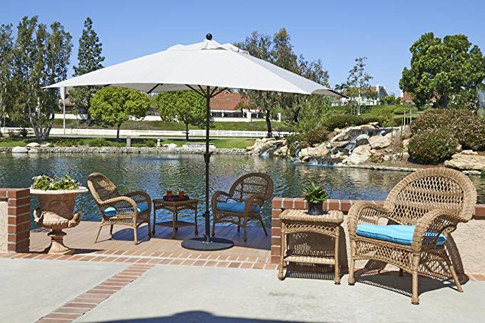 California Umbrella 11' X 8' Rectangle Aluminum Market Umbrella, Crank  Lift, Bronze Pole, Sunbrella Black Inside Fashionable Carlton  Rectangular Market Umbrellas (View 11 of 25)
