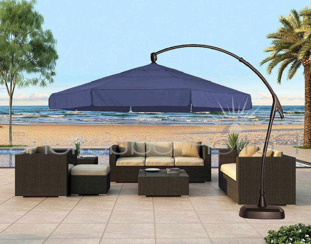 Cantilever Umbrellas Pertaining To Famous 11' Octagon Cantilever Umbrella Ag28Rk (View 8 of 25)
