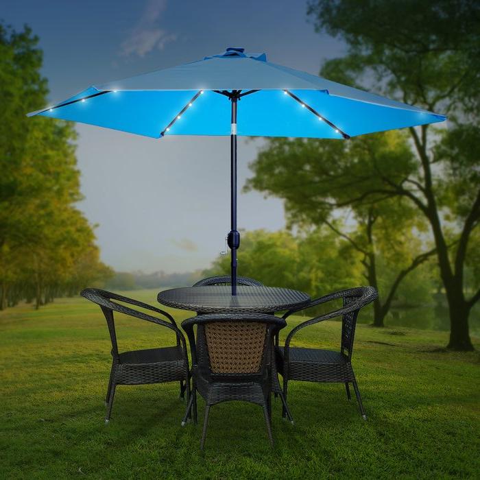 Charlize Illuminated 10' Umbrella For Favorite Brecht Lighted Umbrellas (View 18 of 25)
