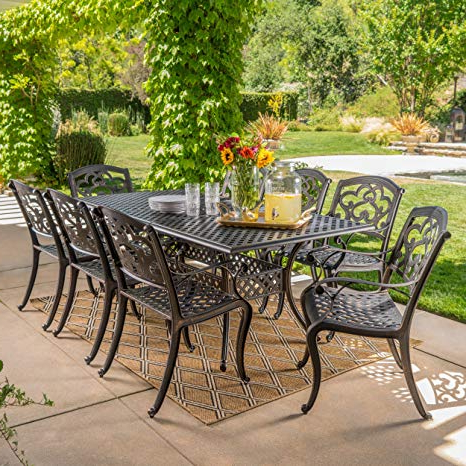 Christopher Knight Home 300676 Ariel 9 Piece Outdoor Cast Aluminum Dining  Set (View 4 of 25)